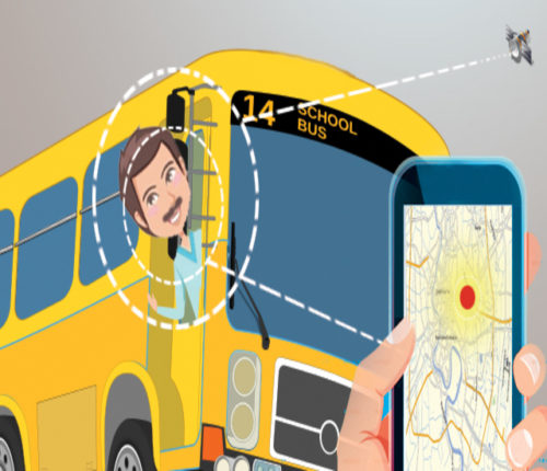 School Bus with GPS Device & RFID